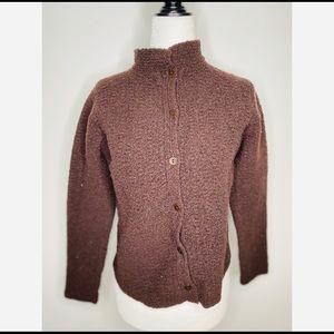 Eileen Fisher Brown Button Down Wool Sweater